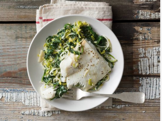 Halibut with Spinach and Leeks